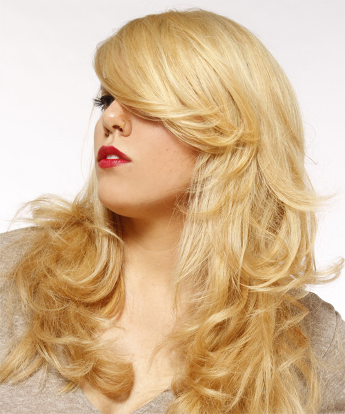 Long Straight Formal   Hairstyle   - Light Blonde - Side on View