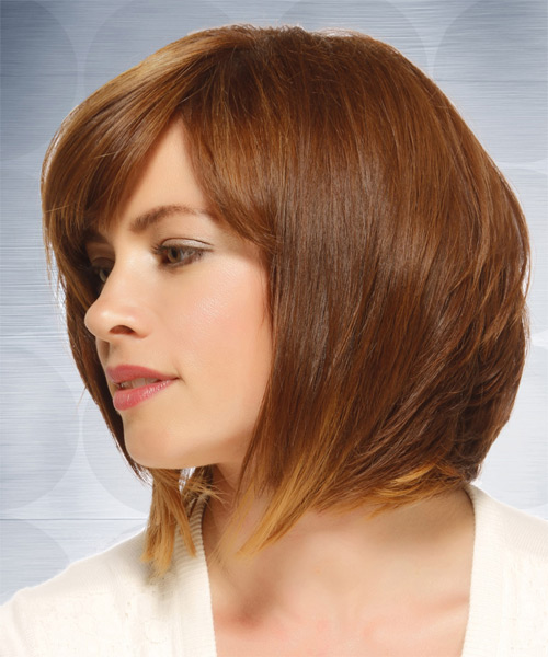Medium Straight Casual  Bob  Hairstyle with Side Swept Bangs  - Light Caramel Brunette Hair Color with  Blonde Highlights - Side on View