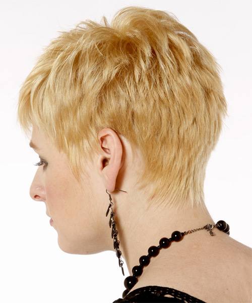 Short Straight Casual    Hairstyle   - Light Golden Blonde Hair Color with Light Blonde Highlights - Side on View