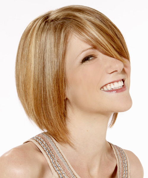 Medium Straight Layered   Golden Blonde Bob  Haircut   with Light Blonde Highlights - Side on View