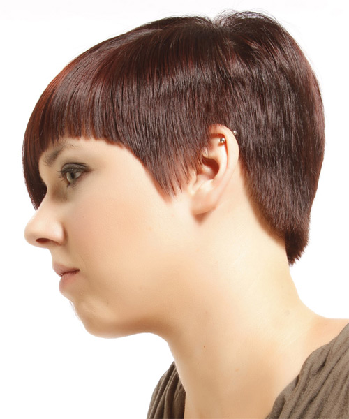 Short Straight Alternative  Asymmetrical  Hairstyle with Razor Cut Bangs  - Medium Burgundy Red Hair Color with Orange Highlights - Side on View