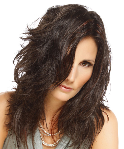 Long Straight Casual    Hairstyle   - Dark Brunette Hair Color with  Red Highlights - Side on View