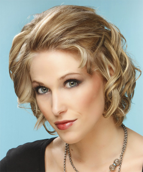 Short Curly Formal    Hairstyle   -  Champagne Blonde Hair Color with Light Blonde Highlights - Side on View