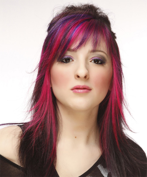 Long Straight Alternative   Half Up Hairstyle with Layered Bangs  - Dark Brunette and Pink Two-Tone Hair Color with Purple Highlights - Side on View