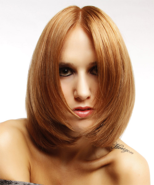 Medium Straight Formal   Hairstyle   - Medium Red (Copper) - Side on View