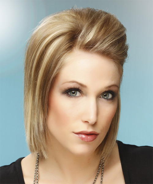 Medium Straight Formal    Hairstyle   -  Champagne Blonde Hair Color with Light Blonde Highlights - Side on View