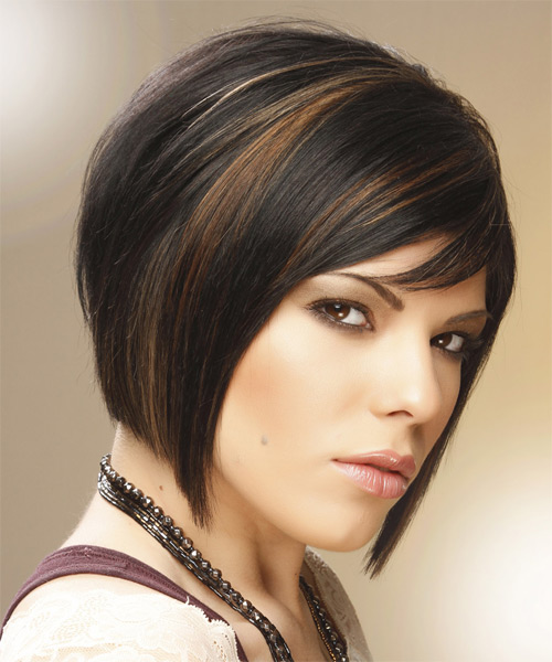 Medium Straight Formal  Bob  Hairstyle with Side Swept Bangs  - Black Caramel  Hair Color with  Brunette Highlights - Side on View