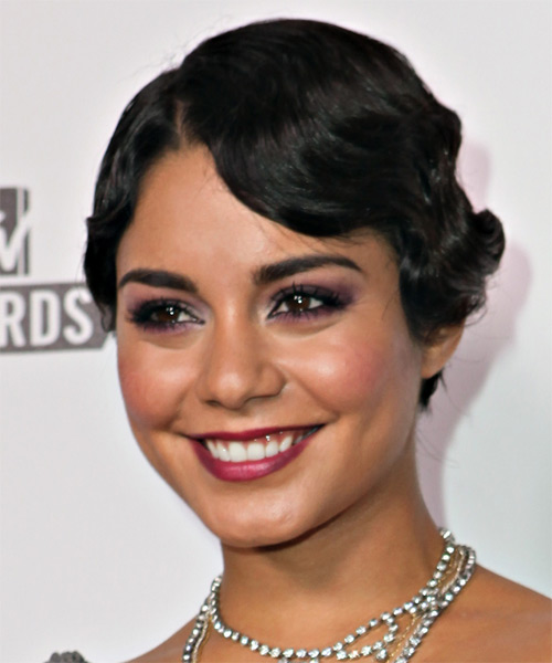 Vanessa Hudgens  Medium Curly   Black   Updo    - Side on View