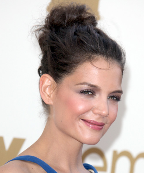 Katie Holmes  Long Curly Casual   Updo Hairstyle   - Dark Brunette Hair Color - Side on View