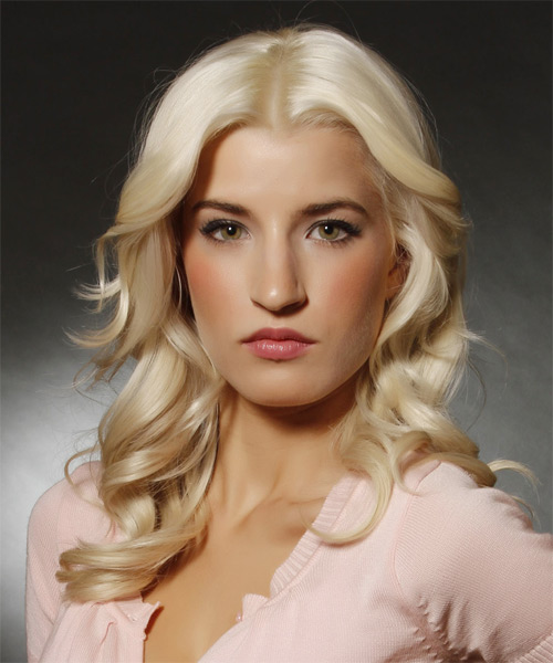 Long Wavy Formal   Hairstyle   - Light Blonde (Platinum) - Side on View