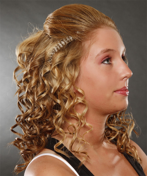 Long Curly Casual   Half Up Hairstyle   -  Ginger Blonde Hair Color with Light Blonde Highlights - Side on View
