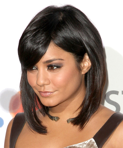 Vanessa Hudgens Medium Straight Formal Layered Bob  Hairstyle with Side Swept Bangs  - Black  Hair Color - Side on View