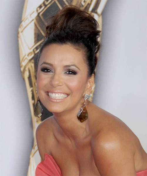 Eva Longoria Parker Updo Long Curly Formal Wedding Updo Hairstyle   - Dark Brunette (Auburn) - Side on View