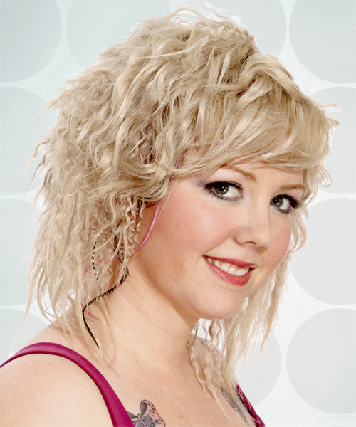 Medium Wavy Alternative   Hairstyle   - Light Blonde (Champagne) - Side on View