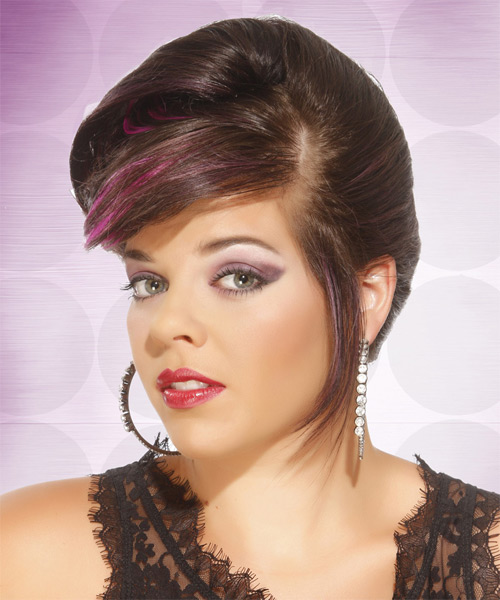 Long Straight Formal   Updo Hairstyle with Side Swept Bangs  -  Chocolate Brunette Hair Color with Pink Highlights - Side on View