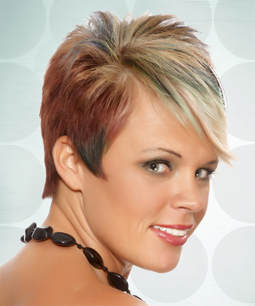 Short Straight Alternative   Hairstyle with Side Swept Bangs  - Medium Blonde - Side on View