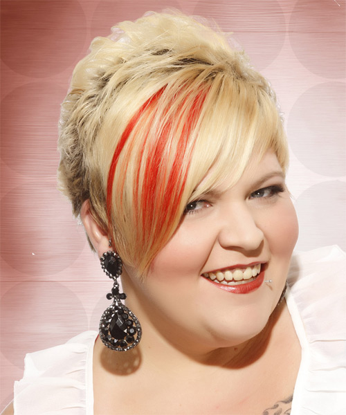 Short Straight Alternative    Hairstyle with Side Swept Bangs  - Light Golden Blonde Hair Color with Orange Highlights - Side on View