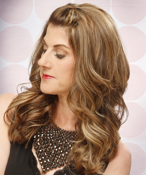 Long Curly Formal   Half Up Hairstyle   - Light Caramel Brunette Hair Color with Light Blonde Highlights - Side on View