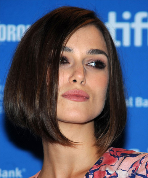 Keira Knightley Medium Straight Casual Bob  Hairstyle   - Dark Brunette - Side on View