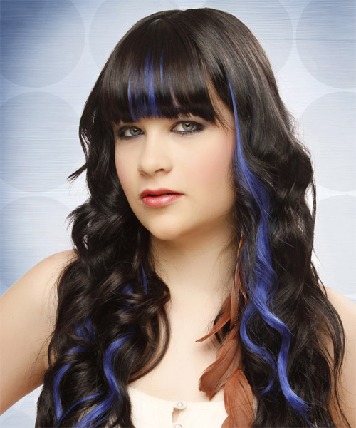 Long Wavy Formal   Hairstyle with Blunt Cut Bangs  - Black - Side on View