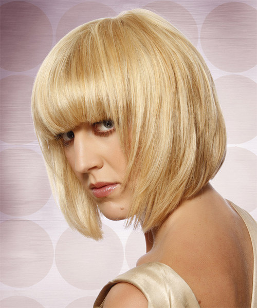 Medium Straight Formal Layered Bob  Hairstyle with Blunt Cut Bangs  - Light Honey Blonde Hair Color with Light Blonde Highlights - Side on View