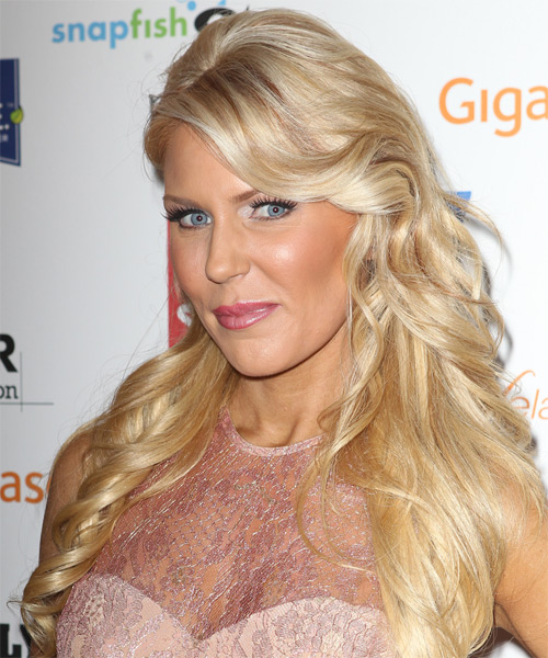 Gretchen Rossi Half Up Long Curly Formal  Half Up Hairstyle with Side Swept Bangs  - Light Blonde (Platinum) - Side on View