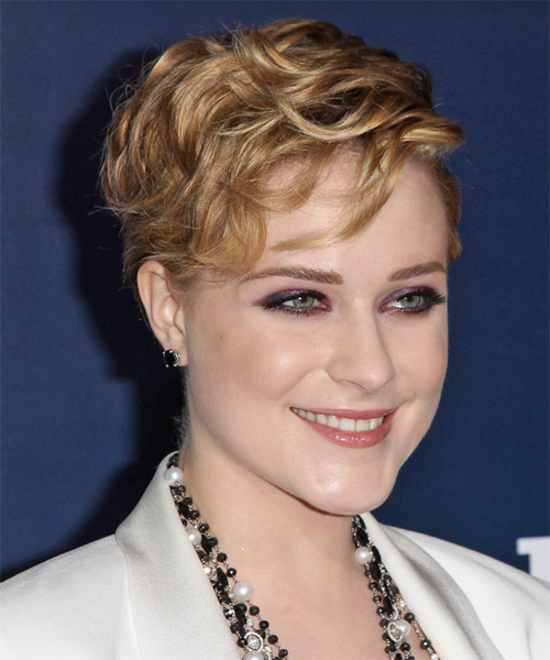 Evan Rachel Wood Short Wavy Formal   Hairstyle with Side Swept Bangs  - Dark Blonde (Honey) - Side on View