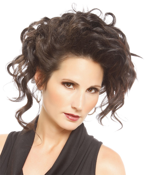 Medium Curly Formal   Updo Hairstyle   - Dark Brunette Hair Color - Side on View