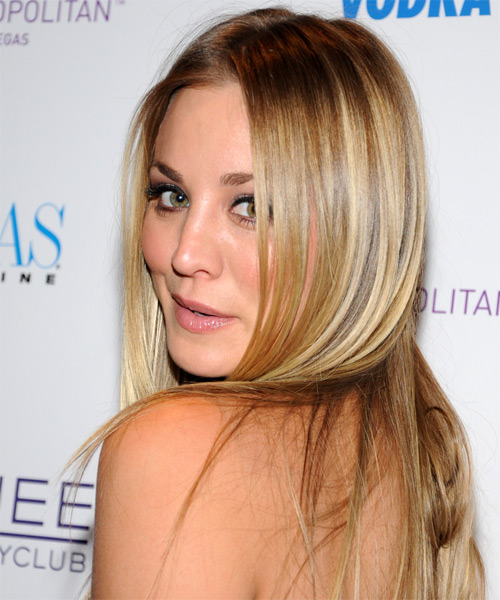 Kaley Cuoco Long Straight Formal    Hairstyle   -  Blonde Hair Color with Light Blonde Highlights - Side on View
