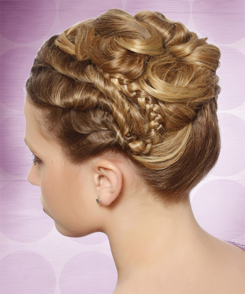 Long Curly   Light Caramel Brunette  Updo    with  Blonde Highlights - Side on View