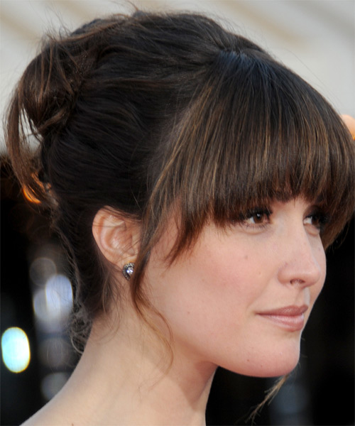 Rose Byrne  Long Straight Formal   Updo Hairstyle with Blunt Cut Bangs  - Dark Brunette Hair Color - Side on View