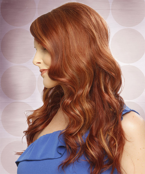 Long Wavy Formal    Hairstyle with Side Swept Bangs  -  Copper Red Hair Color with  Blonde Highlights - Side on View