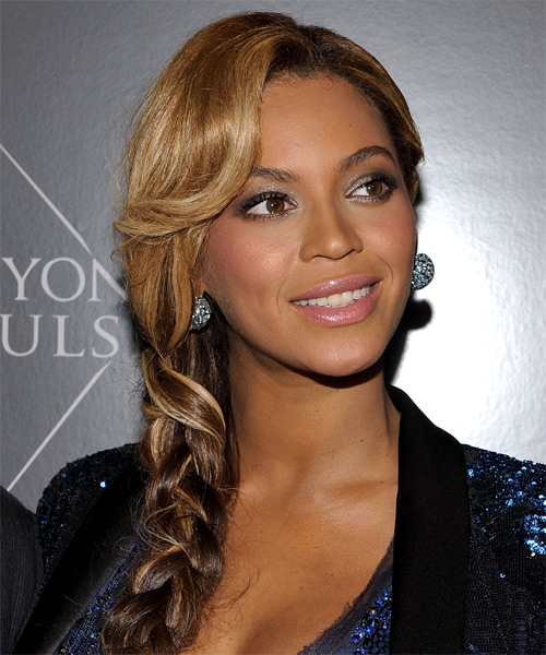 Beyonce Knowles  Long Curly   Dark Brunette Braided Updo  with Side Swept Bangs  and Light Brunette Highlights - Side on View