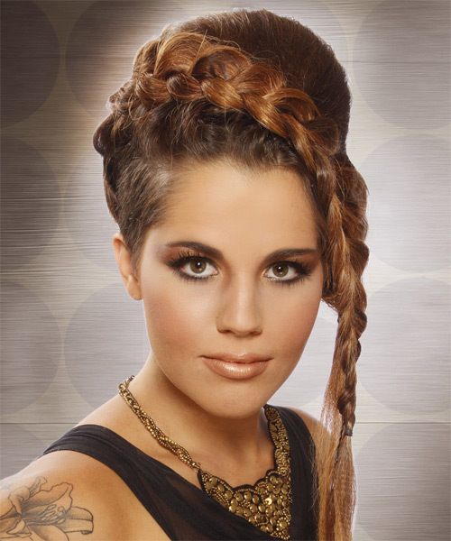 Long Curly    Caramel Brunette Braided Updo    - Side on View