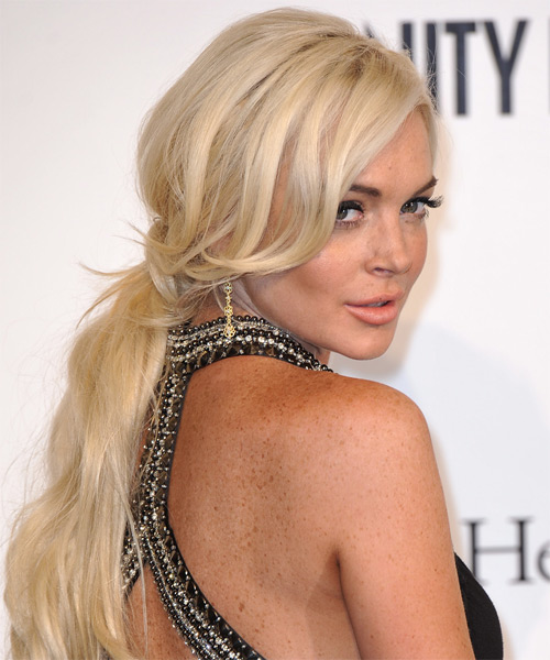 Lindsay Lohan  Long Straight   Light Champagne Blonde  Updo    - Side on View