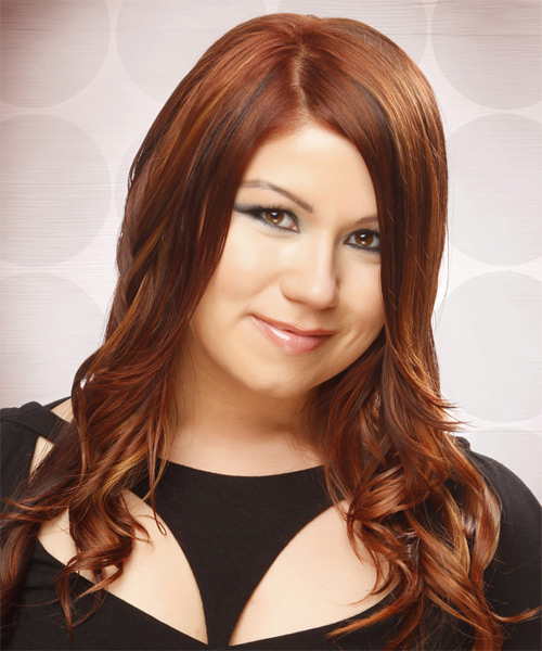 Long Wavy    Copper Red   Hairstyle   with  Red Highlights - Side on View