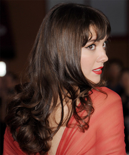 Mary Elizabeth Winstead Long Wavy Formal   Hairstyle with Layered Bangs  - Medium Brunette (Chocolate) - Side on View