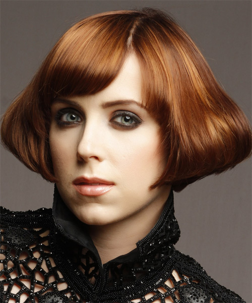 Short Straight    Copper Brunette Emo  Hairstyle   with Dark Blonde Highlights - Side on View