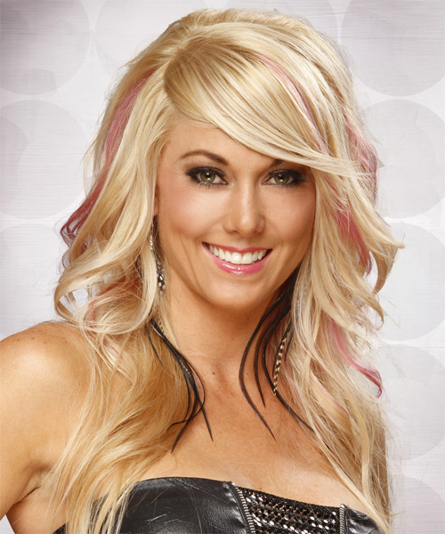 Long Straight Formal   Hairstyle with Side Swept Bangs  - Light Blonde (Champagne) - Side on View
