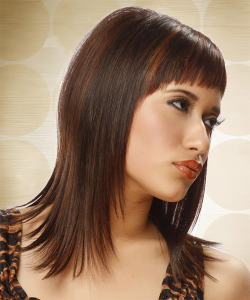 Long Straight Alternative   Hairstyle with Asymmetrical Bangs  - Medium Brunette (Chocolate) - Side on View