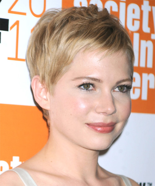 Michelle Williams Short Straight Casual   Hairstyle   - Medium Blonde (Champagne) - Side on View