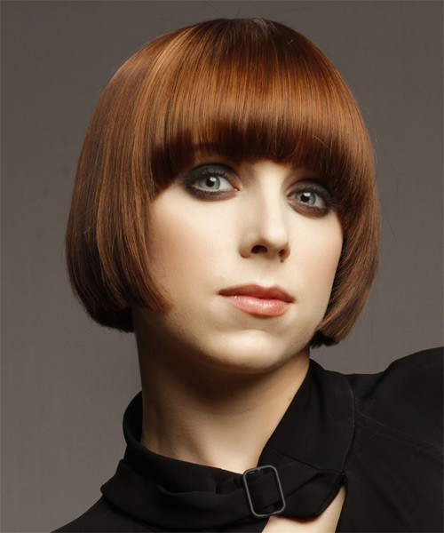 Short Straight    Copper Brunette   Hairstyle with Blunt Cut Bangs  and Dark Blonde Highlights - Side on View