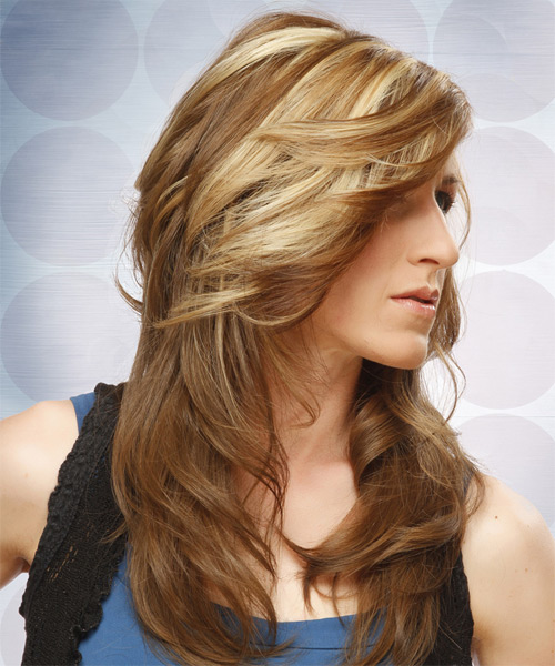 Long Straight Formal   Hairstyle   - Light Brunette (Caramel) - Side on View