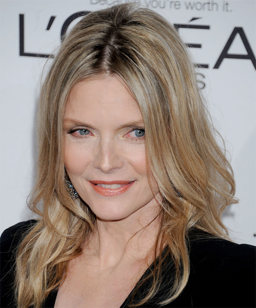 Michelle Pfeiffer Long Straight Casual   Hairstyle   - Medium Blonde (Champagne) - Side on View