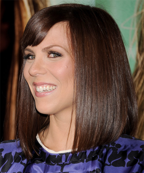 Sarah Burns Medium Straight Formal   Hairstyle with Blunt Cut Bangs  - Dark Brunette (Mocha) - Side on View