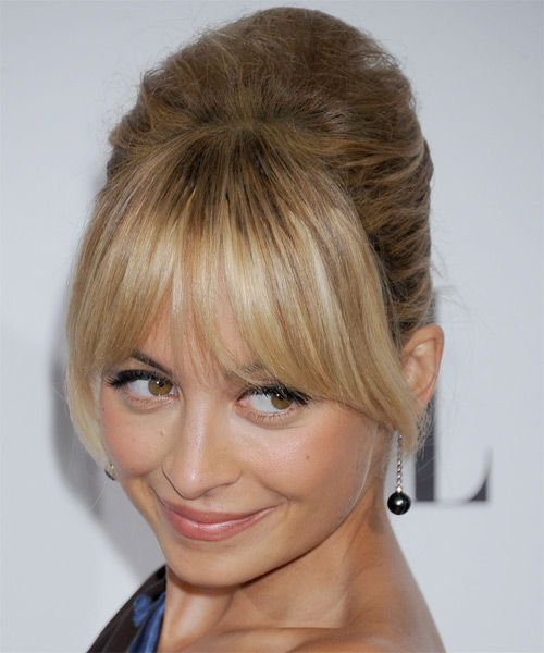 Nicole Richie Updo Long Straight Formal Wedding Updo Hairstyle with Layered Bangs  - Dark Blonde - Side on View
