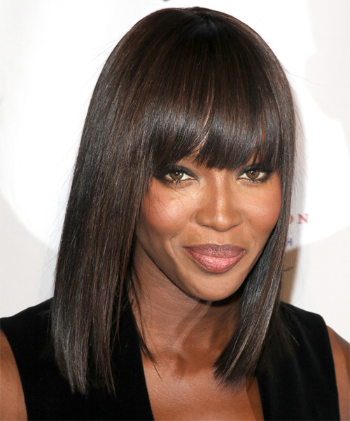 Naomi Campbell Medium Straight Formal Bob  Hairstyle with Blunt Cut Bangs  - Dark Brunette - Side on View