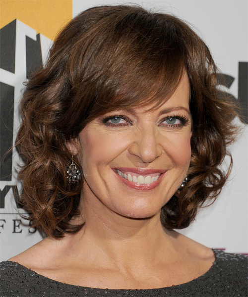 Allison Janney Medium Wavy Formal    Hairstyle with Side Swept Bangs  -  Chestnut Brunette Hair Color - Side on View