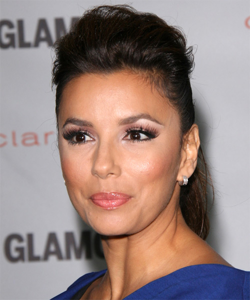 Eva Longoria Parker  Long Straight   Dark Brunette  Updo    - Side on View