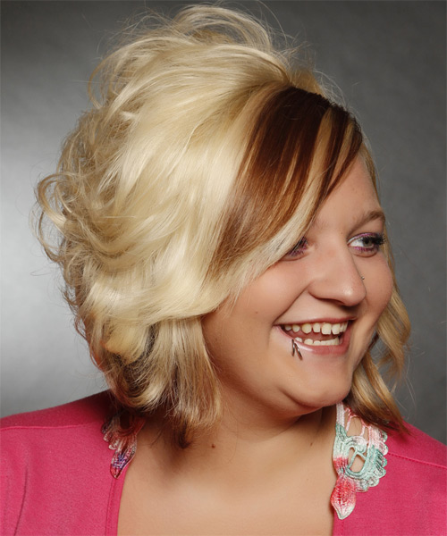 Medium Wavy   Light Blonde   Hairstyle with Side Swept Bangs  and  Brunette Highlights - Side on View